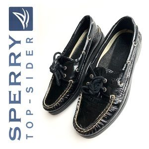 Sperry Top Sider glossy Black slip on boat loafers